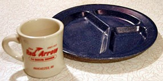 """Why was it called a """"blue plate""""? Manufacturers were producing a plate divided into three sections—much like the plate used in the frozen dinners we have today."""