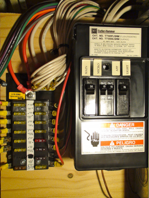 Main AC Breaker Panel from 50 amp power cord and dash fuses from the batteries to appliance circuits.
