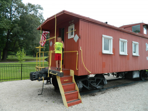 Hitching a ride on the caboose