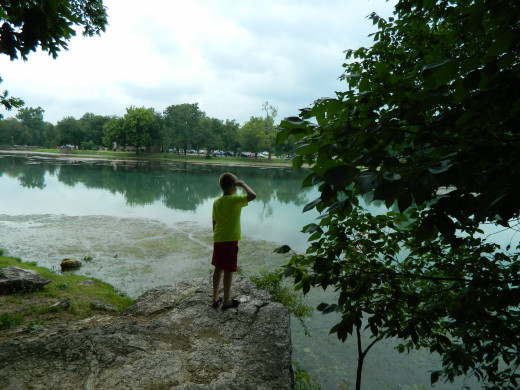 Overlooking the lake at Mammoth Spring Park