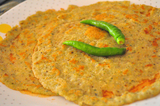 Adai prepared with red chillies
