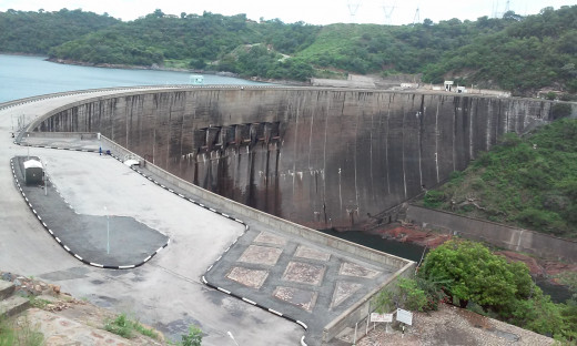The dam wall showing the flood gates.