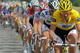 Leader in a yellow jersey