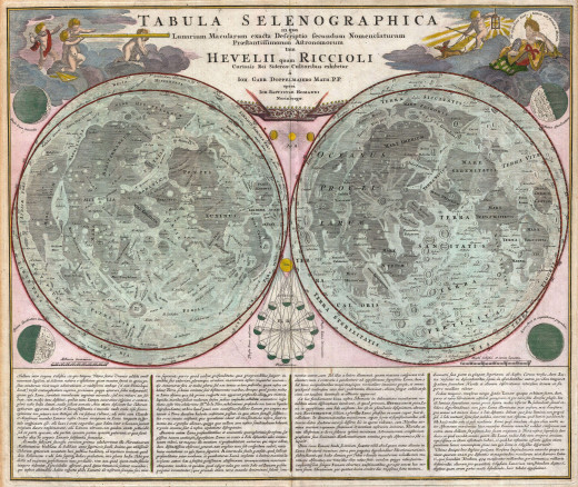 A stunning full color example of J. B. Homann and Johann Gabriel Doppelmayr's important c. 1742 map of the Moon.