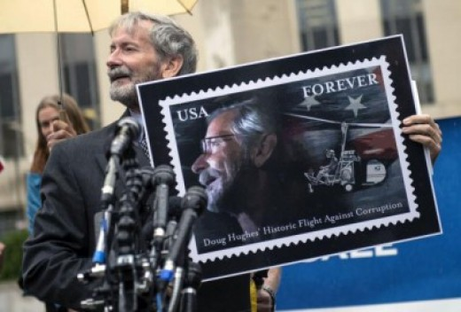 Forever stamp commemorating Doug Hughes' historic flight