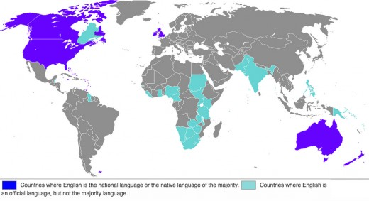 Countries where English is either the national language or an official language.