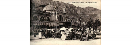 Vintage image of the Café de Paris, Monaco, used as a basis for a postcard