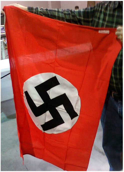 A Nazi flag on display