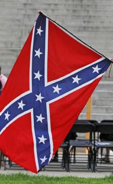 A Confederate flag on display