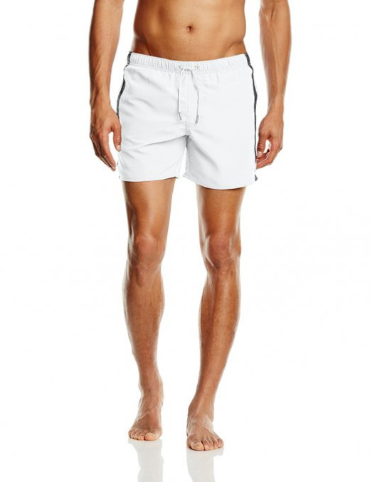 Men's woven board shorts with draw strings and side logo ribbon