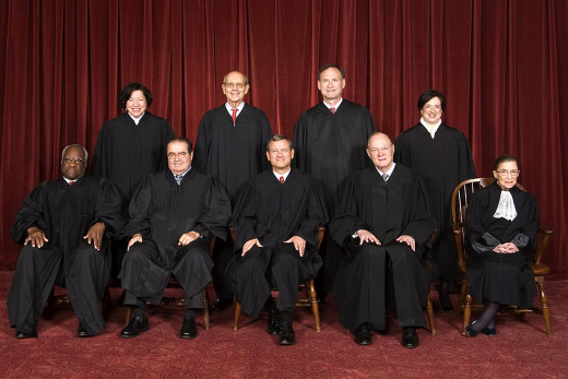 Left to right-Justice Sotomayor, Justice Breyer, Justice Alito, Justice Kagan, Justice Thomas, Justice Scalia, Chief Justice John G. Roberts, Justice Kennedy, Justice Ginsburg