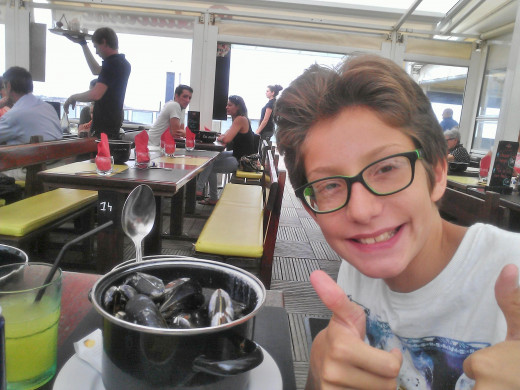 Aged 10, It is not long ago that he would only eat fish fingers and now he is even eating mussels!