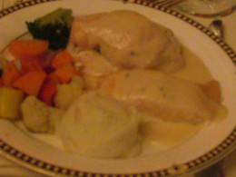 A duet of chicken and fish, stuffed with crabmeat was served for dinner, although appetizers left the majority of our guests completely stuffed.