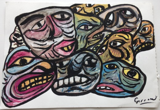 Colin Garrow's 'Mask Faces', inspired by stone carvings