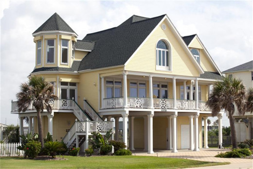 This beautiful beach home (note the stilts) was listed for sale!