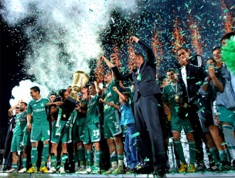 Players from Ludogorets Razgrad celebrate after defeating CSKA Sofia 1-0 to win the club's first league title. It came during the club's first ever season in top-flight football.
