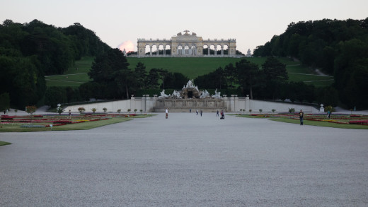 The trail leads to the Neptune Fountain and the Gloriette beyond.  Schönbrunn Palace, Vienna, Austria