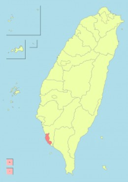 The red area of the map is Kaohsiung City