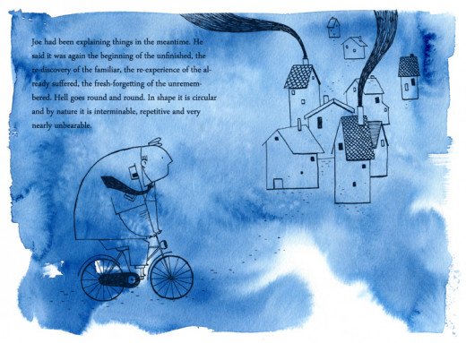 The Third Policeman riding his bicycle