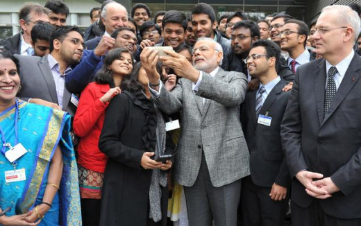 Modi Clicking Selfie with Indian Students in France