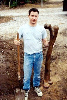 This famous photograph is showing a large human femur is similar to an almost identical femur used as evidence in the Smithsonian Cover-Up lawsuit heard by the U.S. Supreme Court.