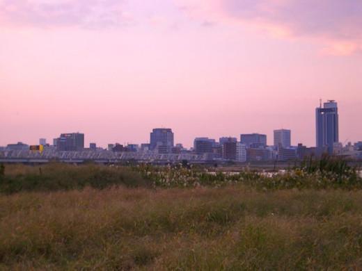 Within walking distance of Umeda, Yodogawa River Osaka Japan