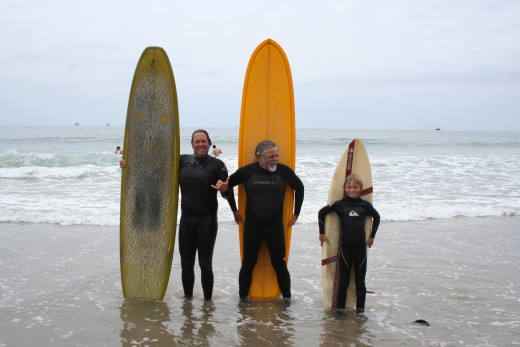 Three Generations of family surfers: Father (Jeff), Son (Larry), Grandson (Forest)