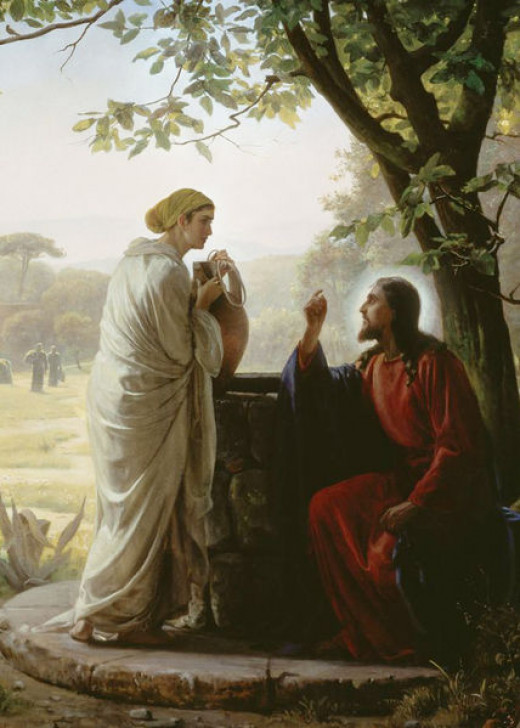 Jesus treats her with respect, although she has a bad reputation (John 4: 1-30).  Painting by Carl Heinrich Bloch