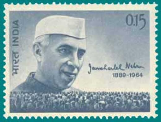 India stamp depicting Nehrus pic