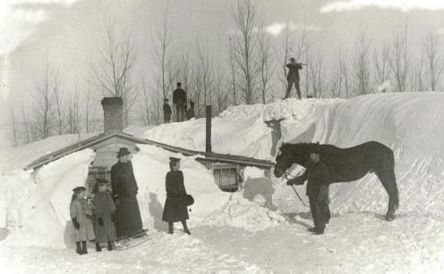 Winter time in a homesteader settlement.