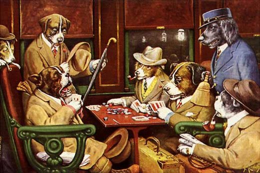 Imagine these dogs playing with humans in a Las Vegas poker tournament...