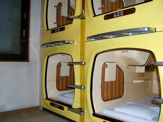 An example of a capsule hotel in Akihabara