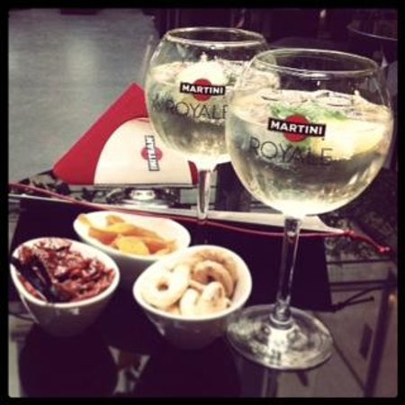 Get a chilled beverage during Happy Hour and enjoy a buffet of finger foods