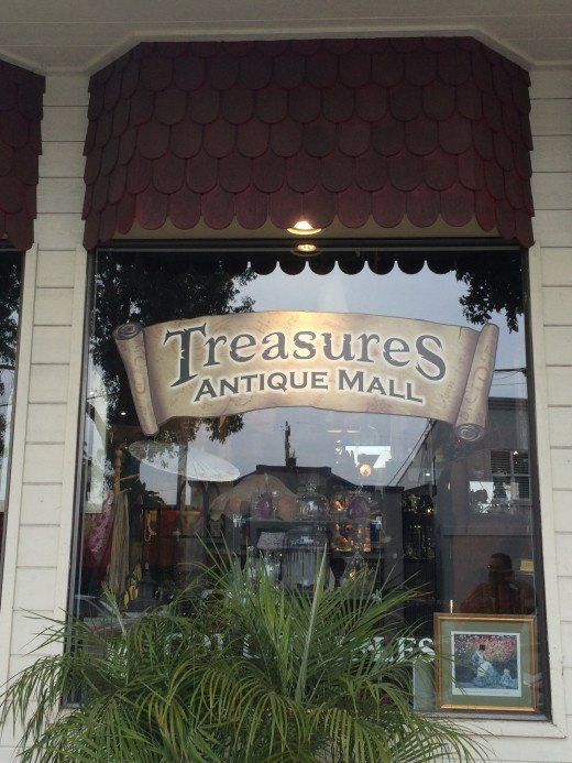 The front of Treasures antique shop.