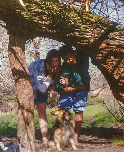 My kids on a hike in the back country hills.