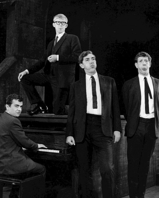 A very young Alan Bennett, with Dudley Moore, Peter Cook and Jonathan Miller, in Beyond the Fringe