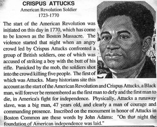 Crispus Attucks. Said to be the very first casualty of the Boston Massacre. (c. 1723-1770).