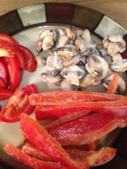 Sliced Mushrooms & Red Bell Peppers