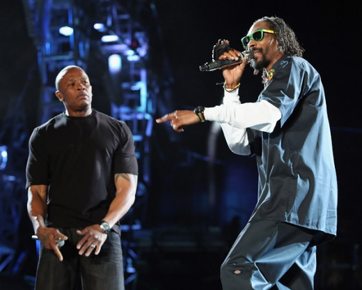 Dr Dre (left) and Snoop Dogg (right) are two of the many artists who contribute to the picture