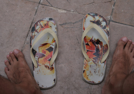 Foam sandals make great shower shoes.