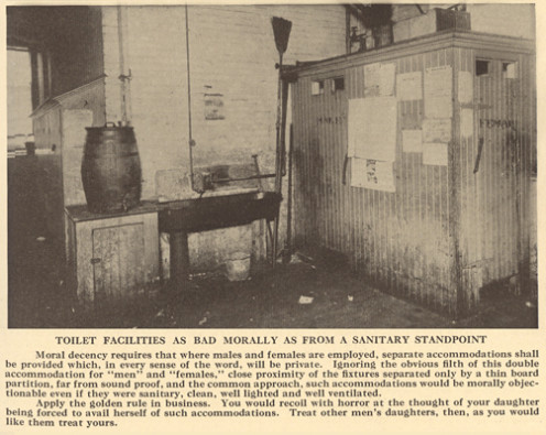 Photo of early public restroom.