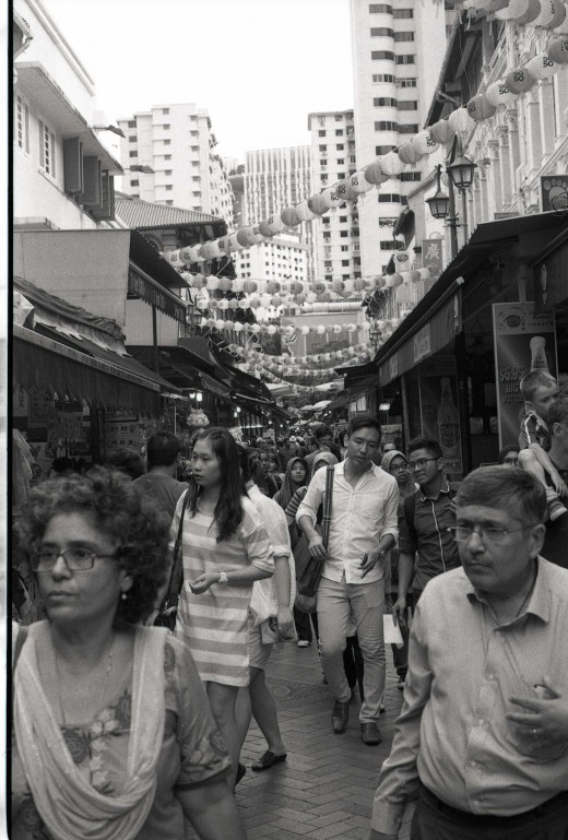 The area around the Chinatown MRT station gets quite a lot of tourist footfall every day, and it's always a vibrant and exciting place to be. (Note that the border on the left side is left over from the film scan.)
