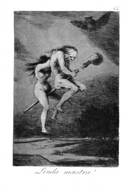 Witches flying to a sabbat, no doubt by using the poisonous plants in the solanaceae family.