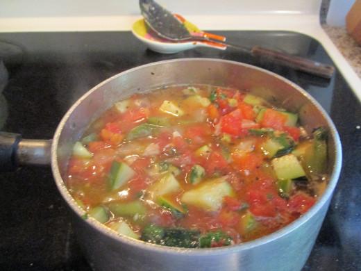 All ingredients simmering.