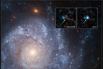 """The inset images show before-and-after images captured by NASA's Hubble Space Telescope of Supernova 2012Z - which is believed to have resulted in a """"zombie star"""""""