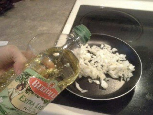 Step Eight: Add your olive oil to the pan and heat to medium heat
