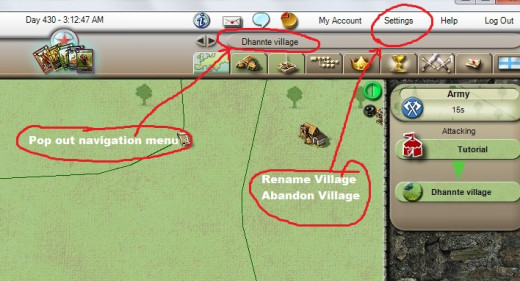 If you get lost or want to rename / abandon your village navigation.