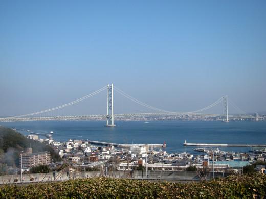 View Of Akashi Bridge From Awaji Island Hyogo Japan