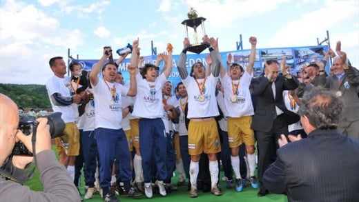 Players from FK Renova celebrate in Macedonia after the club won the league title.