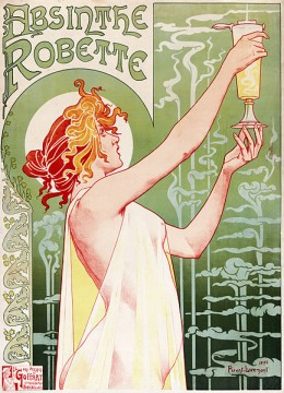 A lovely woman holding a glass of absinthe (containing wormwood).